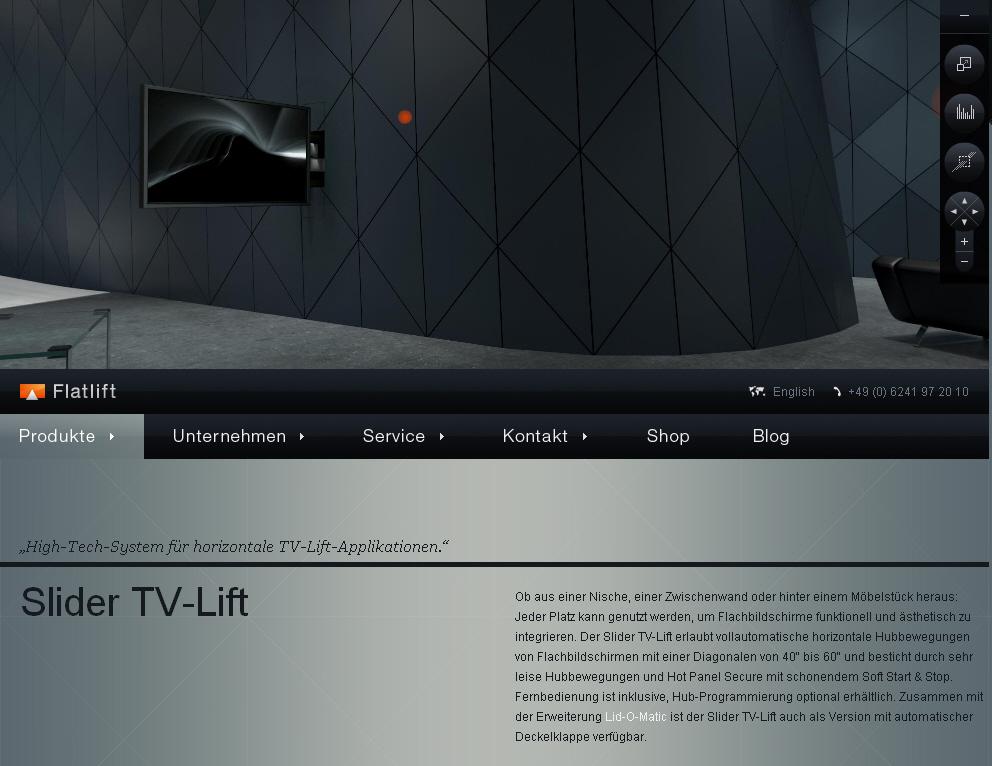 Horizontal TV Lift Applikation Flatlift Slider